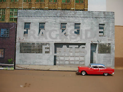 #318 O scale background building flat  WHITE GARAGE  *FREE SHIPPING*