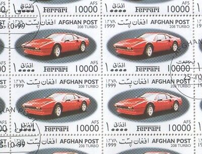 Afghanistan Five Sheets of CTO 1999 Stamps Ferrari F50