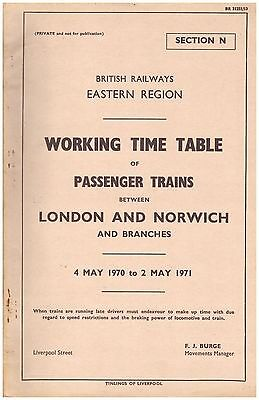 Eastern Region Working Timetable Passenger Section N London-Norwich 1970-1971