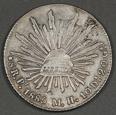"""1885 MEXICO Republic Pi MH 8 Reales Silver Coin XF """"CAP AND RAYS"""" Better Mint"""