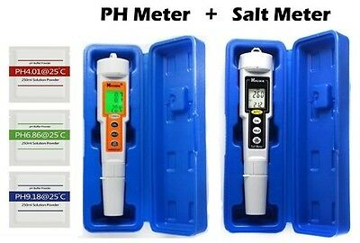 Swimming Pool PH Meter Tester AND Salt Salinity Meter Tester Salt Water Pools