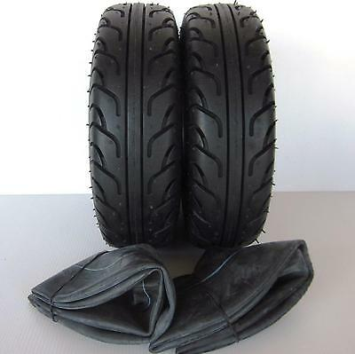 """2 Pack Special - 2 Mobility Scooter Tyres & 2 Tubes 260 x 85 (3.00 x 4"""") Black"""