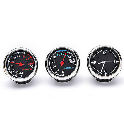 1 Set/3 PCS Car Thermometer Hygrometer Quartz Clock For Dashboard Ornaments gt