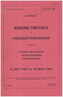 Scotrail Scottish Region Working Timetable Passenger Section GB 1991-1992
