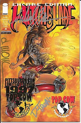 Witchblade 2 Encore Pittsburgh SIGNED Michael Turner D Tron D Wohl  Foil Stamp!