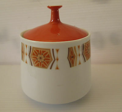 Retro Porcelain RC Noritake Sugar bowl & Lid In Burnt Orange Made In Japan