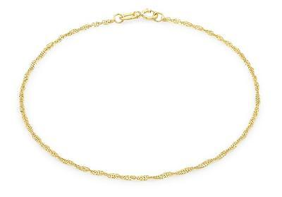 "9ct Yellow Gold 20 Twist Curb Chain Bracelet 23cm/9"" Thin Womens Anklet Gift Box"