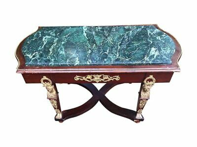 Antique Empire Style Green Marble Top Coffee Table