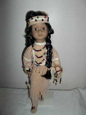 "14"" Indian Maiden Porcelain Doll Tan Suede Dress & Boots Beaded Trim"