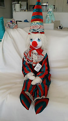 """HAND MADE Collectable Rag Doll Clown 110cm """"Cappuccino"""""""
