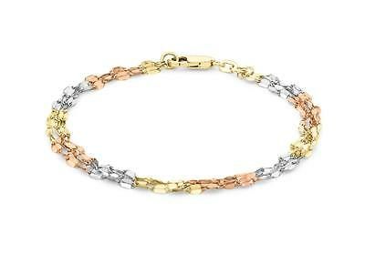 9ct Gold Mixed 3 Colour Yellow/Rose/White Twist Link Chain Bracelet Gift Boxed