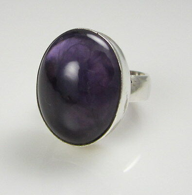 Estate Vintage Stunning Huge Oval Sterling Silver Bezel Set Purple Amethyst Ring