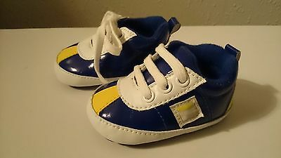 Size 0-6 Months Blue Yellow Fila Baby Boy Comfy Fit Crib Shoes