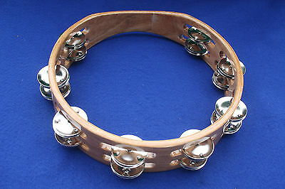 """Hand Held Wooden Tambourine 10"""" Colour Natural with Double Jingles for drum kit"""