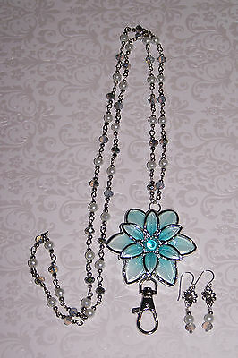 Aqua and Silver Flower with Crystal and Pearl Flower Beaded Lanyard Necklace