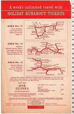 1961 Holiday Runabout Tickets Handbill - Southern Region - Sherborne Swanage