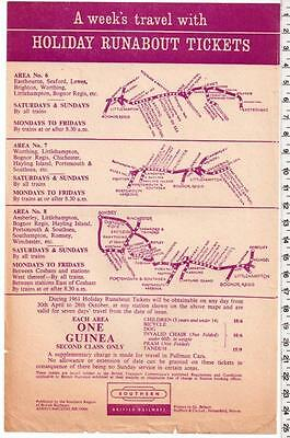1961 Holiday Runabout Tickets Handbill - Southern Region - Portsmouth Eastbourne