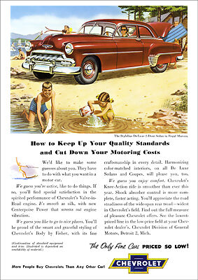Chevrolet 52 Styleline Deluxe Retro A3 Poster Print From Classic Advert 1952