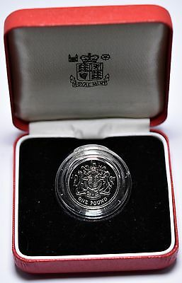 1983 Piedfort United Kingdom Silver Proof One Pound Coin In Case Royal Mint