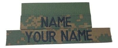 Woodland Marpat Custom US Marines Name Tape,  with Fastener or Sew-On, Military