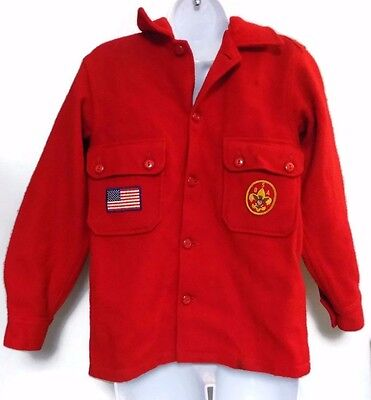 Boy Scouts of America Official Uniform BSA Red Wool Jacket Chest Patches Size 14