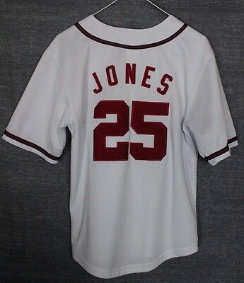 Jones #25 Atlanta Braves Baseball Jersey Shirt Majestic Youths Medium
