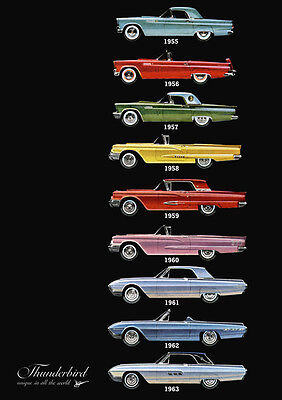 Ford Thunderbird 55 56 57 58 59 60 61 62 63 Retro A3 Poster Print From Advert 63