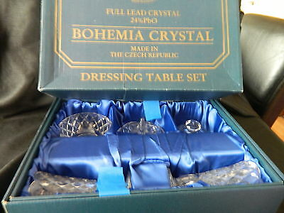 BOHEMIA 24%pbo LEAD CRYSTAL DRESSING TABLE SET