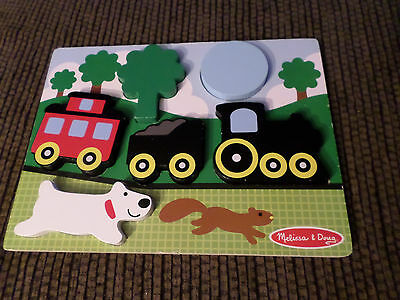 Melissa & Doug Chunky Puzzle Scene Red Caboose Preschool Learning Train Dog Sun