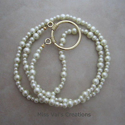 Handcrafted cream pearl gold eyeglass loop chain holder necklace style 30 inches
