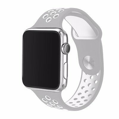 Silicone watch strap band for apple watch with band adaptor 42mm Greywhite