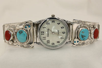 NEW Signed Zuni Effie C Sterling Silver Snake with Turquoise & Coral Mens Watch