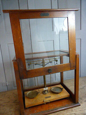 Antique laboratory scales in mahogany and glass case