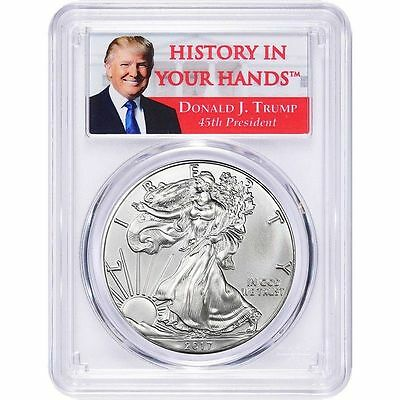 2017 American 1 oz Silver Eagle PCGS MS70 FS Donald Trump Label USA Made Coin