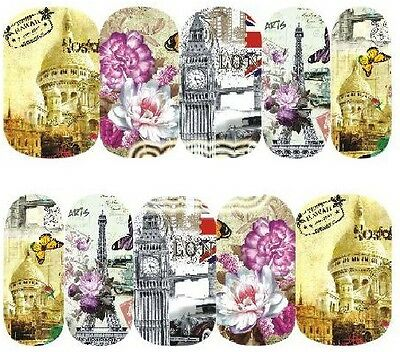 Nail Art Decals Transfers Stickers London Paris  (A-1220)