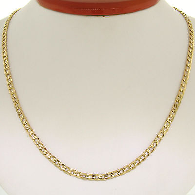 "Men's Italian 14k Yellow Gold 24"" Cuban Curb Link Chain Necklace Lobster Clasp"