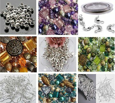 Approx X 400 Jewelry Making Beads Mix Starter Kit for Beginners in Purple Gold &