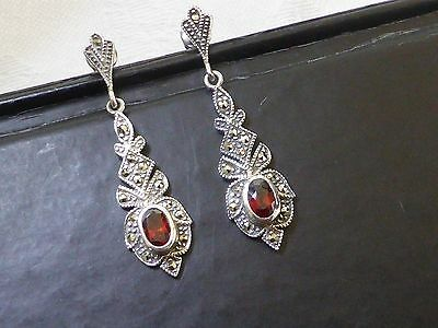 Vintage style jewellery 925 silver marcasite and red earrings for pierced ears