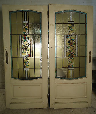 Pair of Vintage Stained Glass Doors (1867)NS