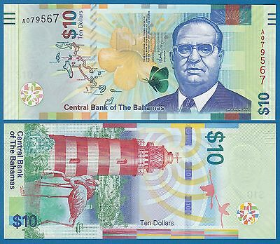 Bahamas 10 Dollars P New 2016 UNC Low Shipping! Combine FREE!