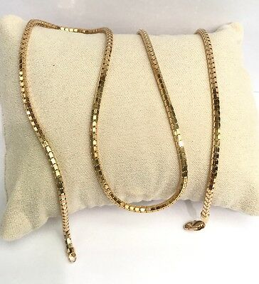 """18k Solid Yellow Gold Shiny Unisex Italy Snake Chain Necklace, 24"""", 12.42 Grams"""