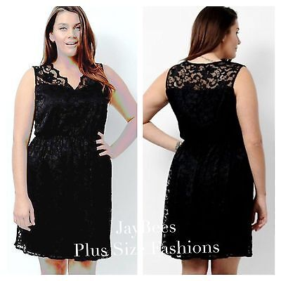 SIMPLY BE PLUS Size 20 Lovedrobe Black Sleeveless Lace Skater DRESS ...