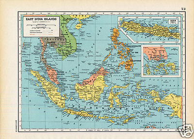 Vintage 1945 Map of INDONESIA Philippines EASTERN CHINA. WW2 Retro Colors!