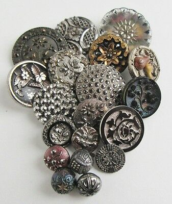 19 Antique Glass Buttons Lacy and Luster Victorian and Unusual