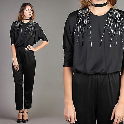 vtg RHINESTONE+FIREWORKS drape grecian black jumpsuit cocktail disco party 80s S