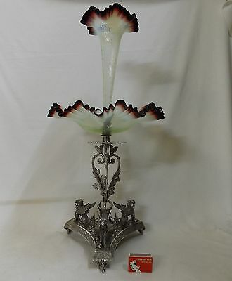 1890's Eng. Vaseline & Uranium Glass Centre Piece Silver Plated Stand Griffins.