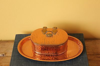 Vintage Swedish Copper hammered box and small tray.