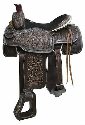 "16"" Circle S Roping Saddle With Antiqued Tooling! Includes Roping Warranty!"