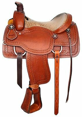"15"" Circle S Western Roping Saddle W/ Alligator Print Seat With Roping Warranty!"