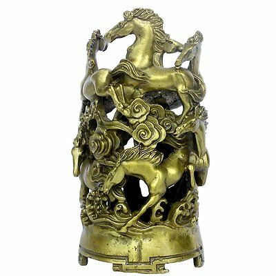 Chinese Fengshui Handmade Brass Eight Horse Pen Container Golden Pencil Vase